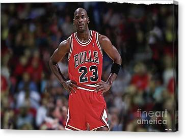 Bulls Canvas Print - Michael Jordan, Number 23, Chicago Bulls by Thomas Pollart