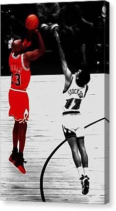 Utah Jazz Canvas Print - Michael Jordan Over John Stockton by Brian Reaves