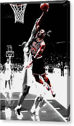 Ewing Canvas Print - Michael Jordan Over The Top by Brian Reaves
