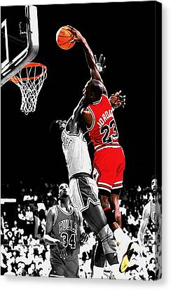 Patrick Ewing Canvas Print - Michael Jordan Power Slam by Brian Reaves