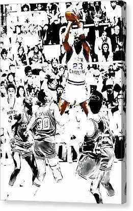 Michael Jordan Rises                         Canvas Print by Brian Reaves