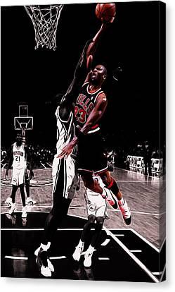 Utah Jazz Canvas Print - Michael Jordan Rises 1a by Brian Reaves