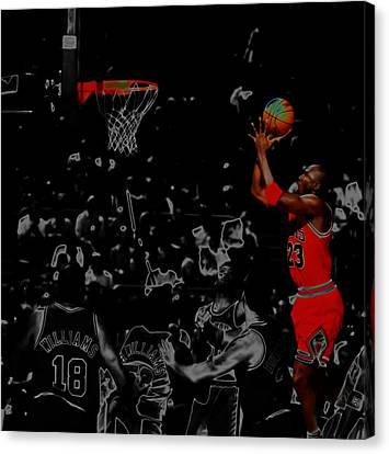Ewing Canvas Print - Michael Jordan Two More by Brian Reaves