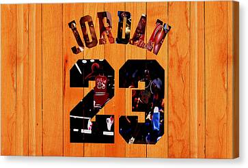 Ewing Canvas Print - Michael Jordan Wood Art 1a by Brian Reaves