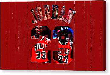 Ewing Canvas Print - Michael Jordan Wood Art 1e by Brian Reaves