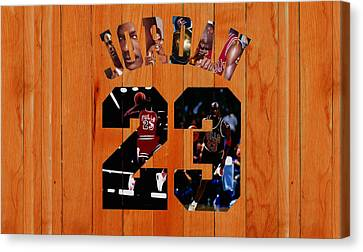 Ewing Canvas Print - Michael Jordan Wood Art 1g by Brian Reaves