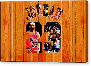 Pippen Canvas Print - Michael Jordan Wood Art 1h by Brian Reaves