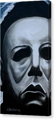 Canvas Print featuring the painting Michael Myers Up Close And Personal by Al  Molina