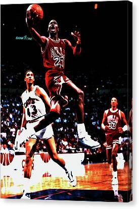 Ewing Canvas Print - Michael Over Brad Daugherty by Brian Reaves