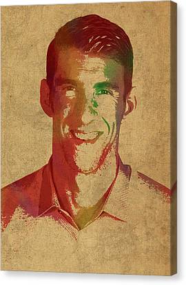 Michael Phelps Swimmer Olympian Watercolor Portrait Canvas Print by Design Turnpike