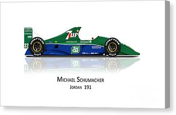 Michael Schumacher - Jordan 191 Canvas Print by Jeremy Owen