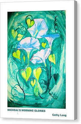 Micheal's Morning Glories Canvas Print by Cathy Long