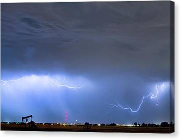Canvas Print featuring the photograph Michelangelo Lightning Strikes Oil by James BO Insogna