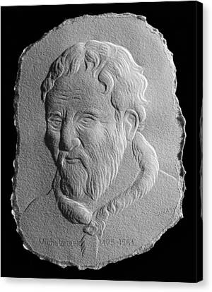 Canvas Print featuring the relief Michelangelo by Suhas Tavkar