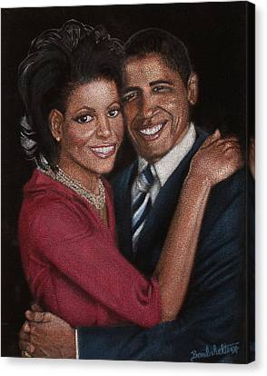 Michelle Obama Canvas Print - Michelle And Barack by Diane Bombshelter