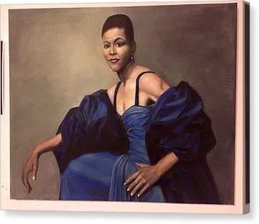 Michelle Obama, Oil On Canvas, Blue Dress Canvas Print