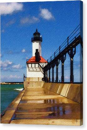 Canvas Print featuring the photograph Michigan City Light 1 by Sandy MacGowan