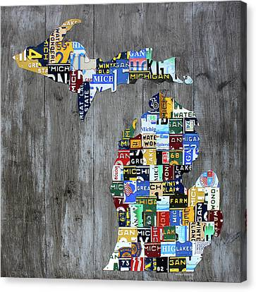 Michigan Counties Patchwork License Plate Art Recycled Vintage Map 2017 Edition  Canvas Print by Design Turnpike