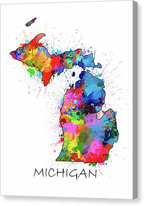 Detroit Tigers Canvas Print - Michigan Map Color Splatter by Bekim Art
