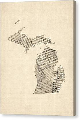 Michigan Map, Old Sheet Music Map Canvas Print by Michael Tompsett
