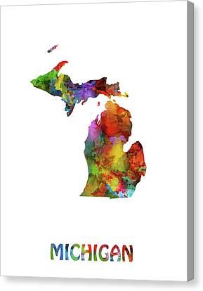 Detroit Tigers Canvas Print - Michigan Map Watercolor by Bekim Art