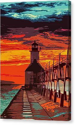 Michigan - St Joseph Lighthouse Canvas Print by Andrea Mazzocchetti