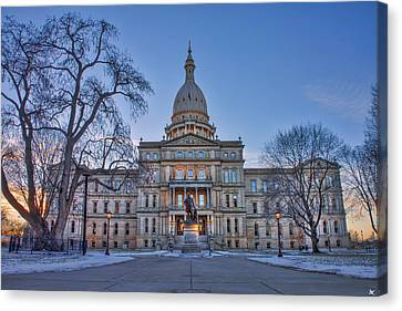 Canvas Print featuring the photograph Michigan State Capitol by Nicholas Grunas