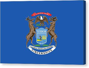 Michigan State Flag Canvas Print by American School