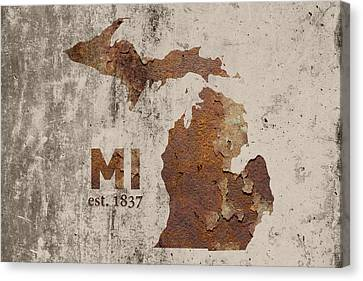 Rust Canvas Print - Michigan State Map Industrial Rusted Metal On Cement Wall With Founding Date Series 005 by Design Turnpike