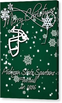 Michigan State Spartans Christmas Card Canvas Print by Joe Hamilton