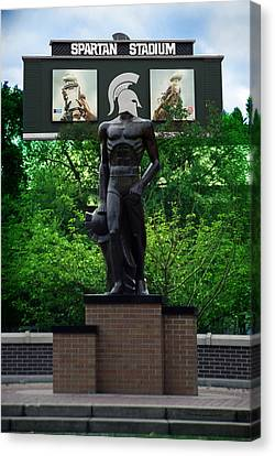 Michigan State University Spartan Statue Merge Vertical Canvas Print by Thomas Woolworth