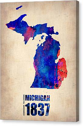 World Map Canvas Print - Michigan Watercolor Map by Naxart Studio