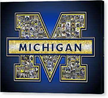 Michigan Wolverines Football Canvas Print by Fairchild Art Studio