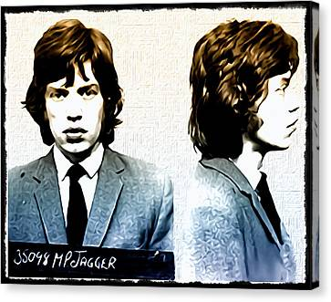 Rolling Stone Canvas Print - Mick Jagger Mugshot by Bill Cannon