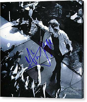 Mick Jagger On Stage Signed Canvas Print by Pd