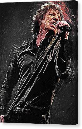 Canvas Print featuring the digital art Mick Jagger by Taylan Apukovska