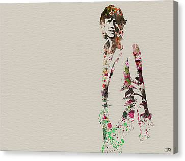 Mick Jagger Watercolor Canvas Print by Naxart Studio