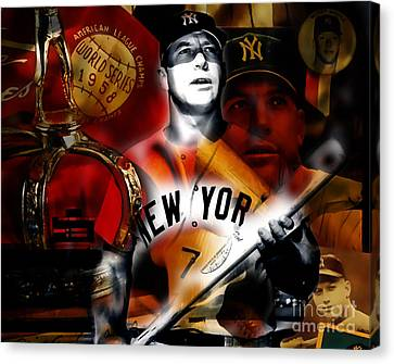 Mickey Mantle Collection Canvas Print by Marvin Blaine