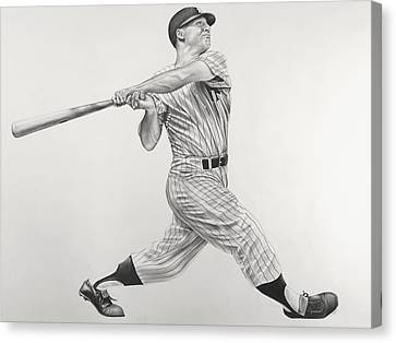 Mickey Mantle Canvas Print by Jon Cotroneo