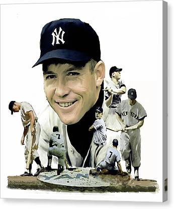 Canvas Print featuring the painting Mickey Mantle Legacy, II  by Iconic Images Art Gallery David Pucciarelli