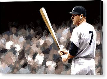 Mickey Mantle Canvas Print - Mickey Mantle Signed Prints Available At Laartwork.com Coupon Code Kodak by Leon Jimenez