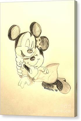 Mickey Minnie Cuddle Buddies - Sepia Canvas Print
