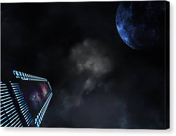 Canvas Print featuring the photograph Micro Chips In Outer Space On The Way To Planets by Christian Lagereek