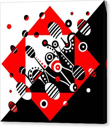 Microgravity - Red And Black Canvas Print by Deyana Deco