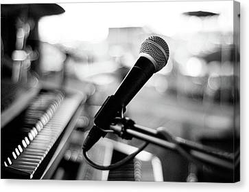 Piano Canvas Print - Microphone On Empty Stage by Image By Randymsantaana