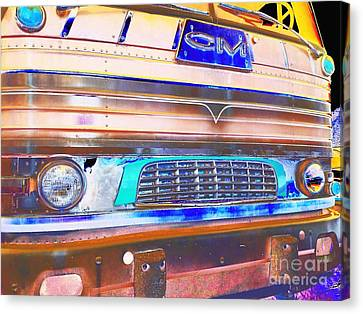 Mid Century Gm Greyhound Bus Front Grill Abstract Canvas Print by Scott D Van Osdol