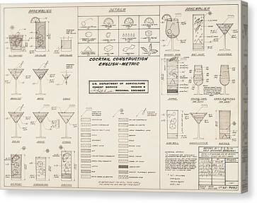 Mid Century Retro Vintage Cocktail Construction Chart Canvas Print by Kathy Hunt