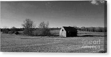 Mid Century Weathered Barn - Black And White Canvas Print by Scott D Van Osdol