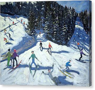 Mid-morning On The Piste Canvas Print by Andrew Macara