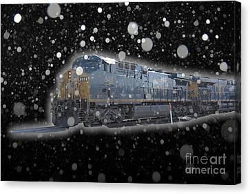 Csx Train Canvas Print - Mid Night Run by Robert Pearson
